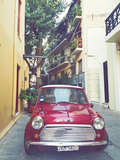 Red Car Old-fashioned Transportation Built Structure Building Exterior City Day No People Architecture Outdoors Athens City Athens Greece Athens Street Photography Mini Cooper Minimal Minimalobsession Plaka, Athens Plaka And Acropolis Afternoon Stroll