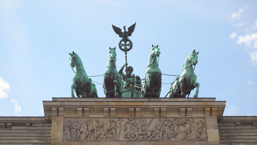 detail of Brandenburg Gate Architecture Art And Craft Berlin Berlin Photography Berliner Ansichten Berlinstagram Brandenburg Gate Brandenburger Tor Building Exterior Built Structure Cloud - Sky Day Horse Human Representation Low Angle View No People Outdoors Sculpture Sightseeing Sky Statue Travel Destinations