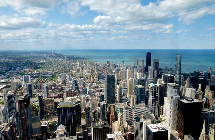 Lakemichigan Chicago Skyline Willistower Skydeck