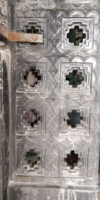 the precision from 8th century in 1000 pillar temple Full Frame Backgrounds Close-up Doorknob Door Historic Closed Door