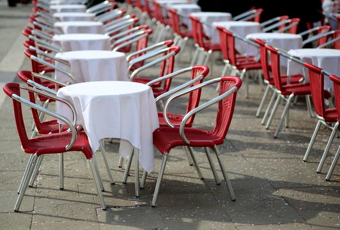 tables and red chairs in an alfresco cafe in the main square of an european city #VENEZIA #Venice Architecture Traveling Venetian Venezia Venice, Italy Alfresco Arrangement Chair Empty Folding Chair In A Row Italian Italy Large Group Of Objects No People Outdoor Outdoors Red Seat Sidewalk Cafe Table Veneto Venice