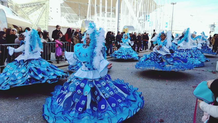 Carnival de Lisbon 2018 Carnival Crowds and Details Carnival Carnivalspirit Blue Large Group Of People Indoors  Day People Real People