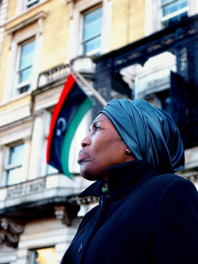No Borders! No Slavery! Protest demanding an end to auctioning of black Africans in Libya. Following reports of people auctions in Libya. Libyan Embassy. London. UK. 26/11/2017 People Protestor One Person Adult Zuiko London Slavery Slavery Still Exists Photojournalism Protesters Stevesevilempire People Auctions No Borders! No Slavery! Black Lives Matter Steve Merrick London News Olympus Protest Libya