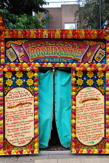 Fair Rides Fairground Fortuner Fortuneteller No People Outdoors Palm Reader Palmist Palmistry Information Sign