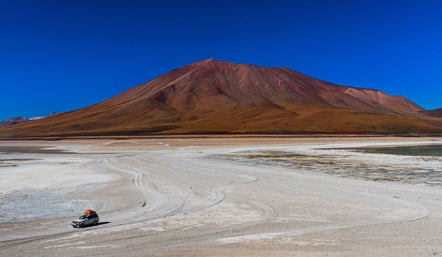 Scenic view of a bolivian salt desert