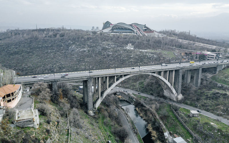 High angle view of bridge over road against sky