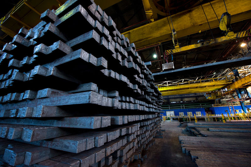 Stacked metal in factory