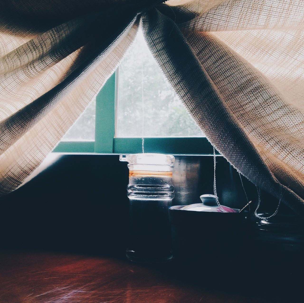 indoors, table, window, no people, refreshment, home interior, curtain, drink, day, close-up