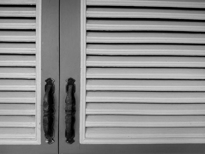 Closed shutter of window