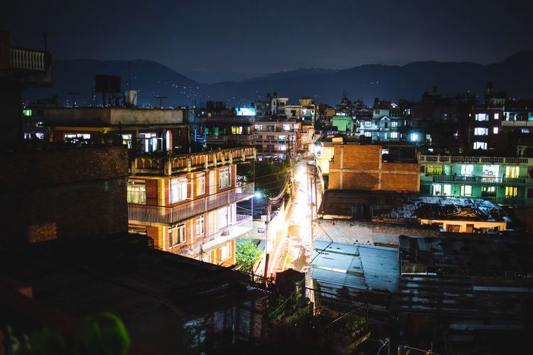 Cities At Night Kathmandu at Night. Nepal Travel Expedition Nightphotography Light Neighborhood Mountains