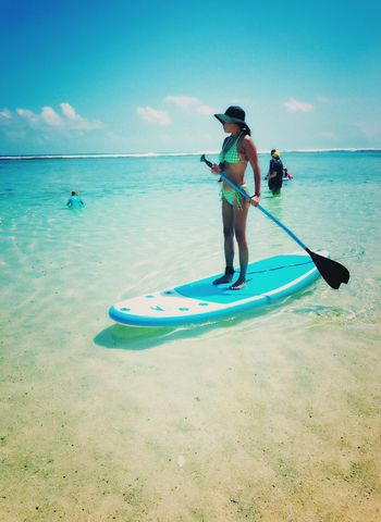 Peaceofmind Leisure Activity Lady Relaxing Time Enjoying Life Nicesunday Blackmagicwoman Tranquility Hat Water Real People Sea Outdoors Beauty In Nature Beach Sky One Person Standing Lifestyles Paddleboarding Damnhot Bikini Hot Day Tropicalliving Beautifullife