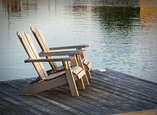 Relaxing by the lake Relaxing Enjoying Life Hanging Out Lakeside Check This Out Summertime Deck Chairs Northern Ontario Dock Muskoka Chairs Dusk Days End Lake Ripples Beauty In Nature Beautiful View No People Eyeem Marketplace EyeEm Best Shots - Nature EyeEm Nature Lover EyeEmBestPics Mobile Photography Eye4photography  The Great Outdoors - 2017 EyeEm Awards EyeEm Best Shots - Landscape Art Is Everywhere Summer Exploratorium