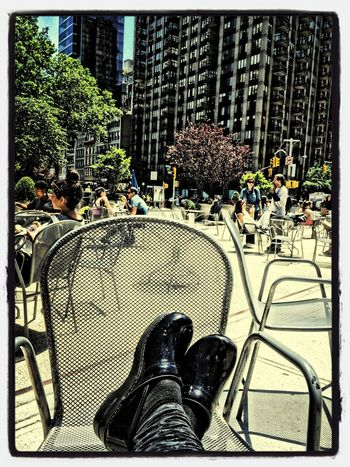 sitting in the HOT SUN at the flatiron triangle just chilling out Soaking Up The Sun IPhoneography AMPt - Street WiAM Community