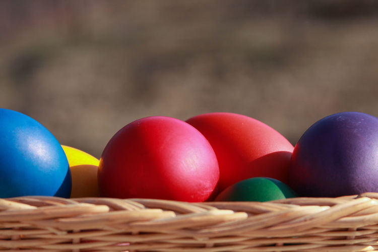 Close-up of multi colored eggs in basket