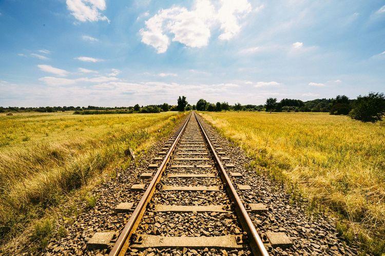paths into infinity Train Tracks Tracks Ways Wideangle Cornfield Fieldscape Landscape Infinity Agriculture Sunshine My Best Photo 2015