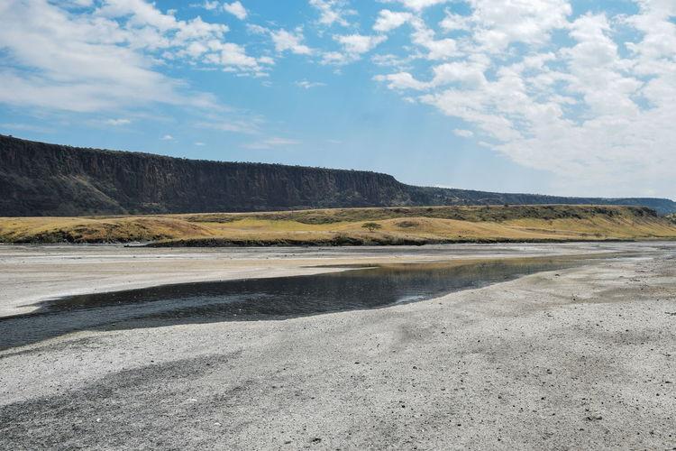 Algae and sand deposits at lake magadi, rift valley, kenya