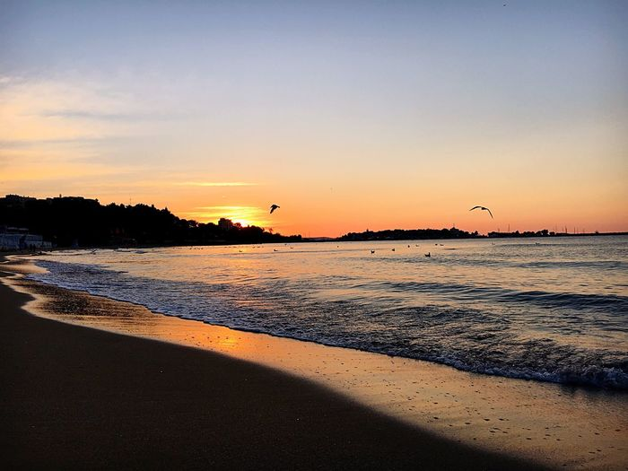 Sunset Sea Beach Beauty In Nature Scenics Nature Water Tranquil Scene Sand Sky Tranquility Silhouette Outdoors No People Travel Destinations Wave Vacations Horizon Over Water EyeEm Nature Lover EyeEm Sunset EyeEm Sunrise Sunrise Beauty In Nature VSCO Vscobulgaria