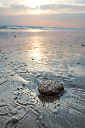 West Coast of Nicaragua Sea Sky Water Beauty In Nature Tranquility Beach Sunset Scenics - Nature Rock Outdoors Sand Tranquil Scene Nature Rock - Object No People Horizon Horizon Over Water Reflection