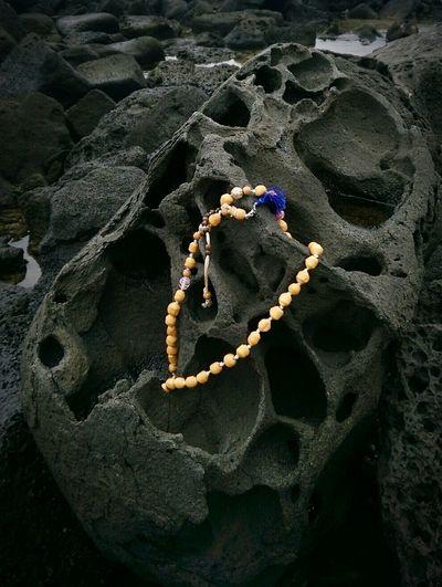 Neem Japa Mala on Hawaii Volcanic Rock Ocean Tumbled Stones its a Crab Condo too 😎 Aloha and Namaste ❤ from Big Island Hawaii