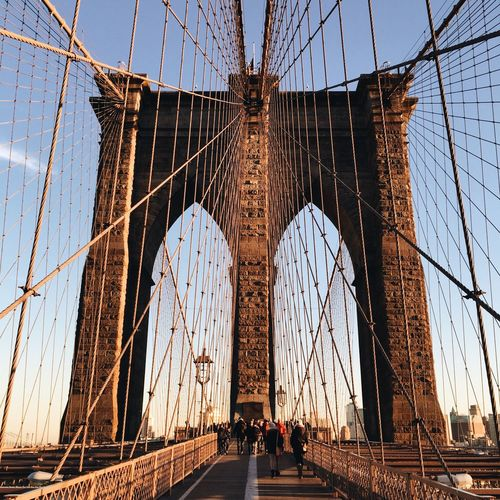 Brooklyn Bridge Against Blue Sky