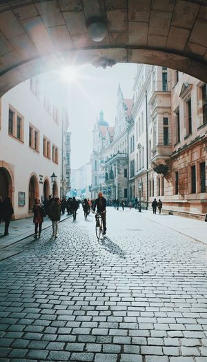 Cobblestone Architecture Building Exterior Built Structure Sunlight Street City Outdoors Day Men Real People Women Full Length Adult Sky People Adults Only Capture The Moment EyeEmBestPics