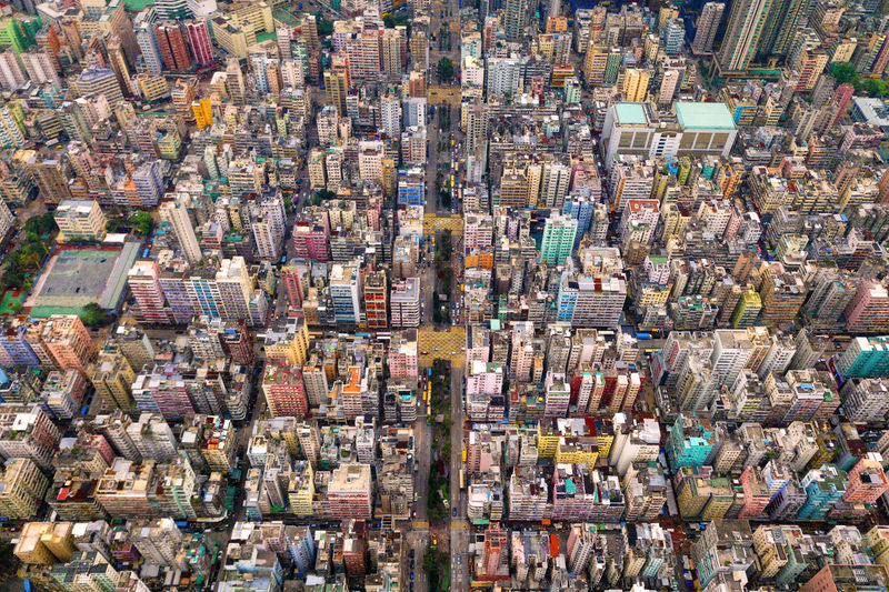 Aerial view of intersections or junctions in Sham Shui Po, Shek Kip Mei, Hong Kong Downtown. Financial district and business centers in smart city, technology concept. Top view of buildings. HongKong Hong Kong City Cityscape Buildings Architecture Aerial View Drone  Top Intersection Downtown Financial District  Full Frame Day High Angle View Crowd Backgrounds Abundance Building Exterior People Outdoors Building Built Structure Crowded Community Large Group Of Objects Street Skyscraper Pollution Excess