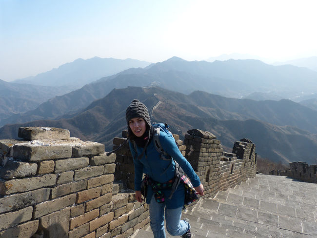 Architecture Backpack Built Structure Casual Clothing Day Great Wall Of China Leisure Activity Lifestyles Mountain Mountain Range Outdoors Portrait Sky Steep Tourism Tourist Travel Destinations Vacations
