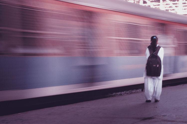 Public Transportation Railwaystation Mumbai Taking Photos