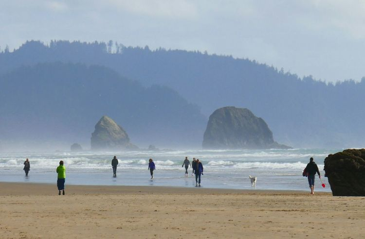 Cannon Beach view. Hanging Out Vacation Travel Photography Travel Beach Shoreline Rock Rock Formation Lumix Lumixlounge ZS100 Water Blue Sky Learn & Shoot: Balancing Elements Mountains And Sky Landscapes With WhiteWall The KIOMI Collection Feel The Journey