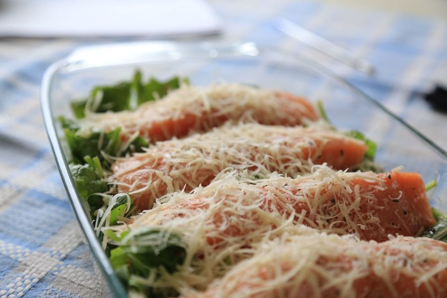 Cheese Close-up Cooking Day Dish Fish Food Food And Drink Freshness Grated Cheese Grated Parmesan Healthy Eating Indoors  Kitchen No People On The Table Ready-to-eat Salmon Selective Focus Serving Size
