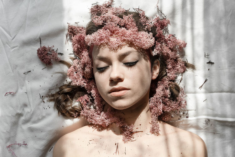 Moss & Lichen Lichen Pink Pink Color Beautiful Woman Beauty Portrait Young Women Beautiful People Headshot Human Face Females Women Textured Effect Ceremonial Make-up Stage Make-up Make-up Fashion Model International Women's Day 2019 Springtime Decadence The Portraitist - 2019 EyeEm Awards The Creative - 2019 EyeEm Awards