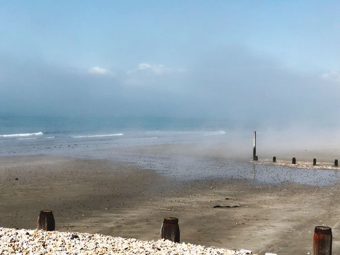 Sea mist Sea Mist Beach Sea Sky Cloud - Sky Land Nature Scenics - Nature Water Sand Environment Outdoors Wave