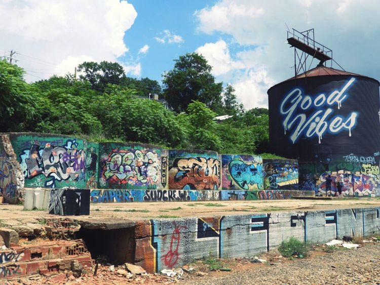 Good Vibes ✨ Graffiti Street Art Architecture Multi Colored Outdoors Built Structure Goodvibes ArtWork Asheville NC
