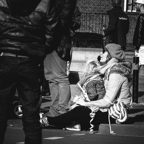 Carnaval Streetphotography Children Mother & Daughter Safehaven People Of Tilburg Blackandwhitephotography