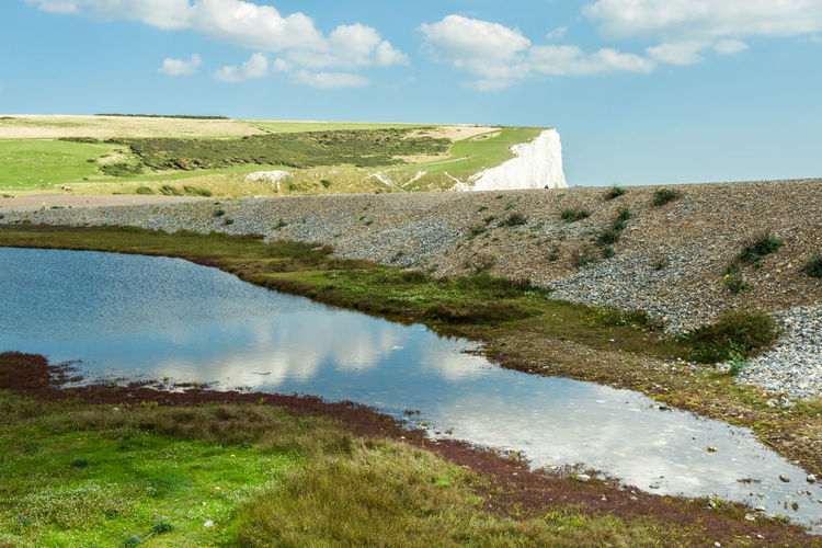 Beachy Head, Sussex. EyeEm Best Shots Abstract Beauty In Nature Cloud - Sky Day Environment Grass Green Color Lake Land Landscape Nature No People Non-urban Scene Outdoors Plant Reflection Scenics - Nature Sky Tranquil Scene Tranquility Water