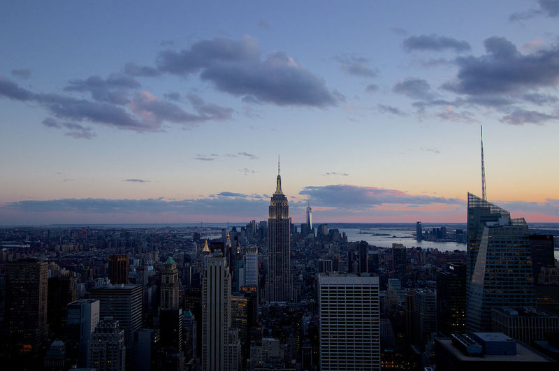 Beautiful view of Downtown Manhattan and NYC Skyline during sunset from the Top of the Rock at Rockefeller Center. New York New York City NYC Empire State Building USA Sunset Hudson River Manhattan Brooklyn Queens Staten Island Bronx Sky Clouds Architecture Building Modern Architecture New York City Skyline New York Skyline  NYC Skyline NY Beautiful Sunset Modern City Modernism Skyscraper First Eyeem Photo