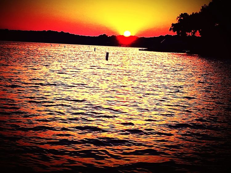 Sunset on the Lake Sunset Sky Water Beauty In Nature Silhouette Orange Color Scenics - Nature Waterfront Tranquil Scene Outdoors No People Rippled The Great Outdoors - 2018 EyeEm Awards