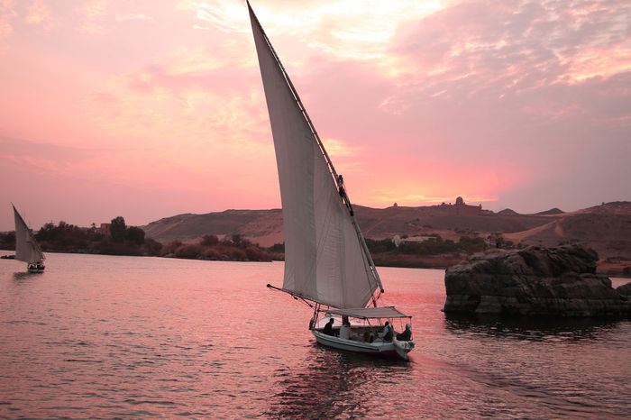 Good Morning From Egypt Aswan Egypt Aswan Egypt Beauty In Nature Egytian Nile Nile Cruise NileRiver Sailing Boats Sailing Ship Summer Sunset Sunset_collection