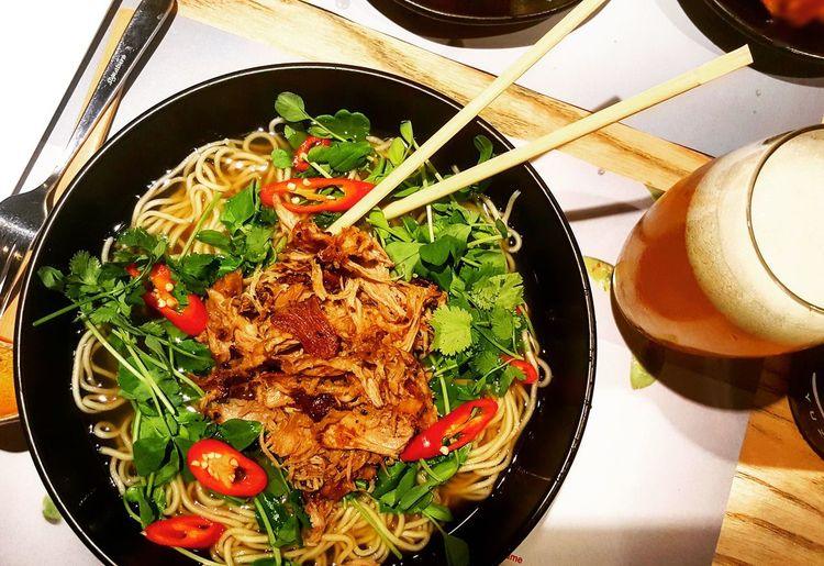 a good bowl of noodles solves a lot of problems Food And Drink Food Freshness Ready-to-eat Indoors  High Angle View Healthy Eating Indulgence Plate Close-up Noodles Noodle Bar