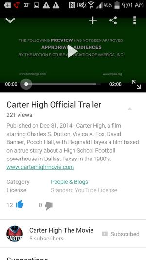 Go Support the movie I'll be playing in Carter High: The Movie. Based on a remarkable true story of 1988 football players that attended David W. Carter HS in Dallas Texas. CarterHighMovie