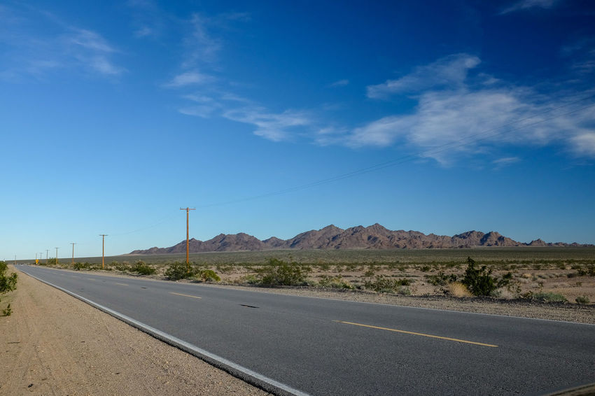 Road Sky Transportation The Way Forward Landscape No People Desert Scenics - Nature vanishing point Arid Climate Road66 Road 66  USA Road Trip Drive Driving Escaping
