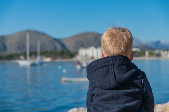Blonde Boy Blue Day Harbor Mallorca One Person Rear View Sailboat Sea Sky Travel Travel Water EyEmNewHere