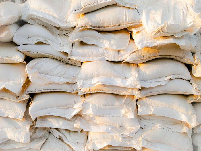 Full frame shot of rice sacks