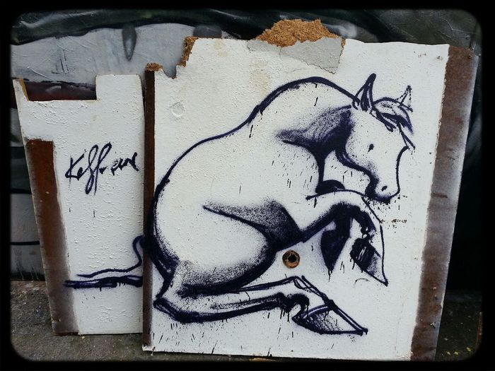 Kaffeine Pony on the loose in a fitzroy alleyway Throwie on 2 pieces of timber