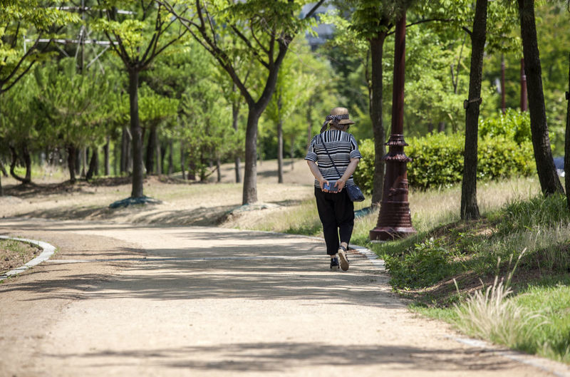Casual Clothing Day Diminishing Perspective Footpath Full Length Green Color Growth Leisure Activity Lifestyles Michuhol Park Nature Outdoors Park Pathway Road Songdo, Incheon The Way Forward Tree Vanishing Point Walking Around Walkway