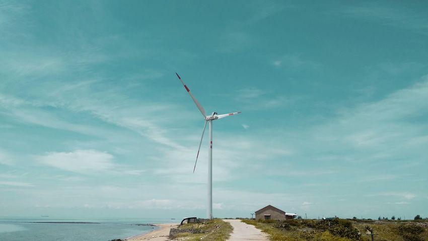 风车 Sky Cloud - Sky Day Outdoors Blue No People Sea Wind Power Horizon Over Water Nature Tree Airshow Technology Wind Turbine