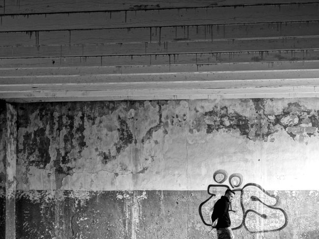 Us - or alone One Person Real People Men Standing Full Length Day People Outdoors Thisweekoneyeem Adult Architecture One Man Only Urban Deserted Scapes EyeEm Best Shots Urbanphotography Blackandwhite War Culture Remote Alone Graffiti Society Wall Concrete