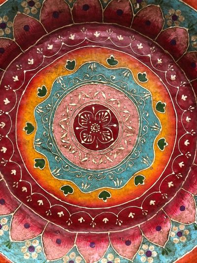 Pattern Multi Colored Backgrounds Art And Craft Indoors  No People Full Frame Close-up Decoration Design Religion Ornate Textile Creativity Craft Floral Pattern Red Ceiling Embroidery