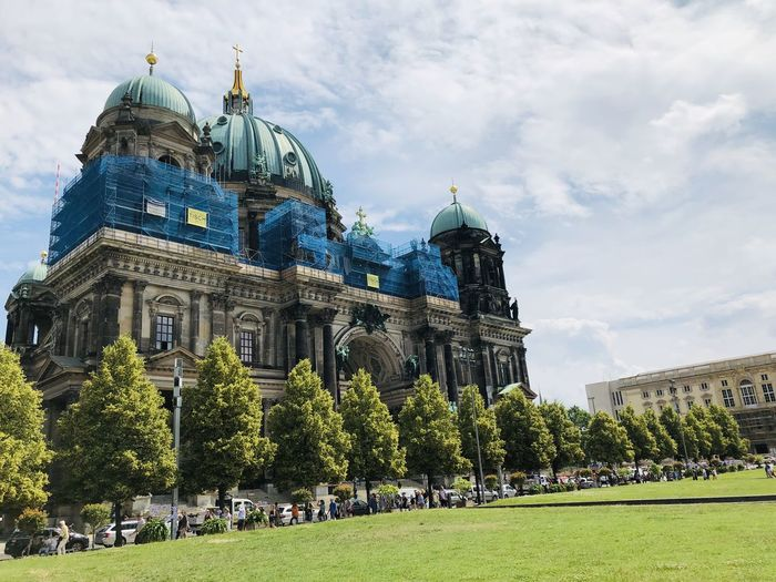 View of historical building against sky in berlin. main building in the photo is the berliner dom