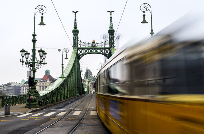 Blurred Motion Of Tramway On Liberty Bridge In City